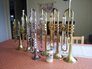 Expensive trumpets that costs a lot of money
