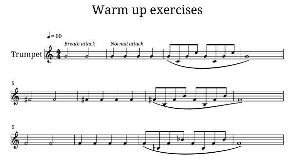 warm up exercise for trumpet