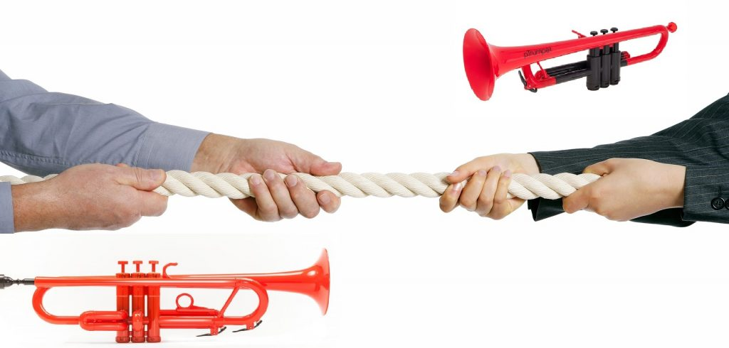 competition between the ptrumpet and tromba allora